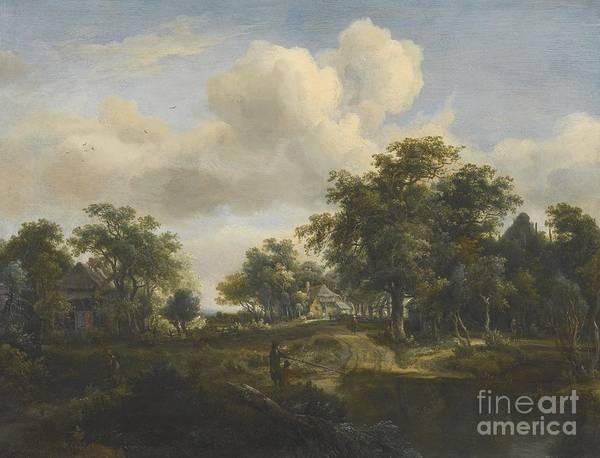 Meindert Hobbema Painting - A Hamlet In A Woodland Glade  by MotionAge Designs