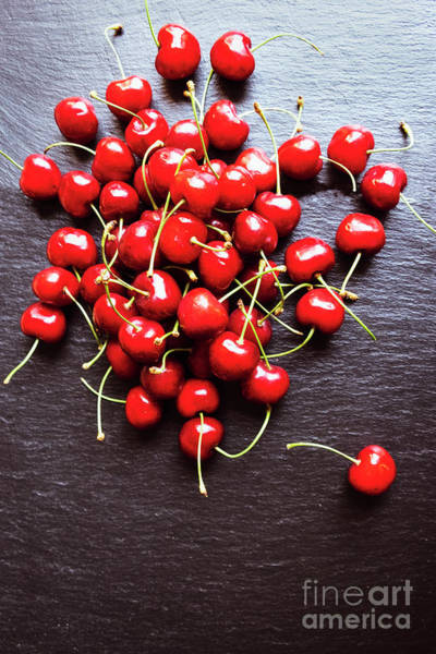 Photograph - A Handful Of Cherries On The Slate Platter by Marina Usmanskaya