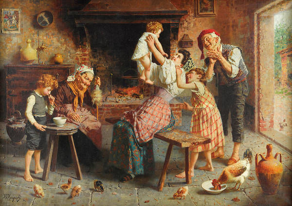 Rural Life Wall Art - Painting - A Happy Family by Eugenio Zampighi