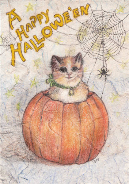 Holiday Drawing - A Happy Halloween by Carrie Jackson