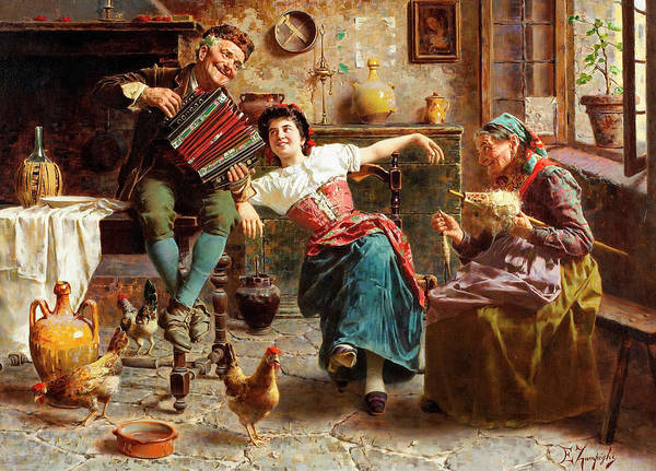 Rural Life Wall Art - Painting - A Happy Tune by Eugenio Zampighi