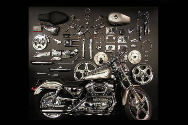 Wall Art - Photograph - A Harley-davidson Motorcycle And Parts  by Art Spectrum