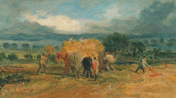 Ward Painting - A Harvest Scene With Workers Loading Hay On To A Farm Wagon by James Ward