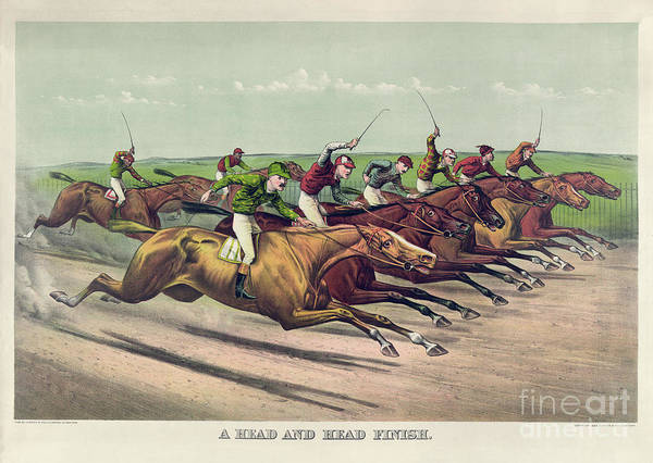 Wall Art - Painting - A Head And Head Finish by Currier and Ives