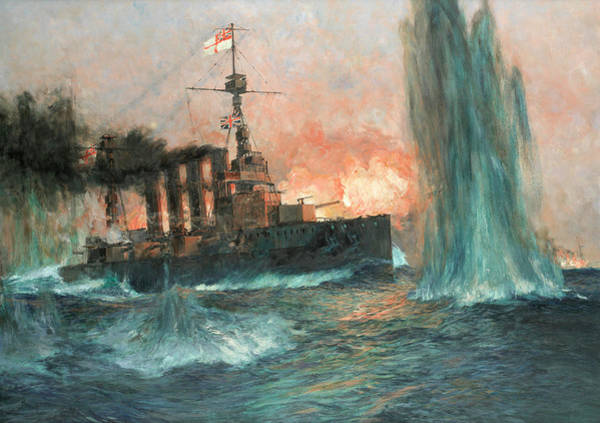 Cruiser Painting - A Heavy Cruiser At The Battle Of Jutland by Charles Edward Dixon