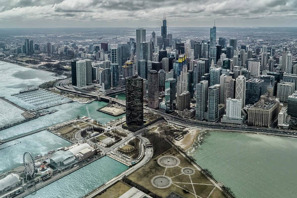 Photograph - A Helicopter View Of Chicago's Lakefront by Sven Brogren