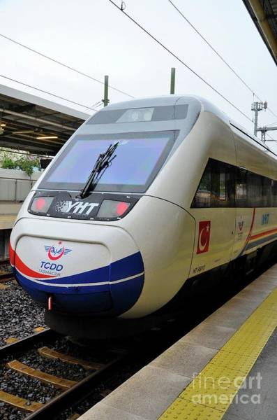 Photograph - A High Speed Bullet Train Of Turkish Railways Parked At Pendik Station Istanbul Turkey by Imran Ahmed
