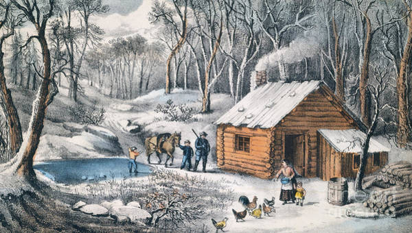 Settlers Painting - A Home In The Wilderness by Currier and Ives