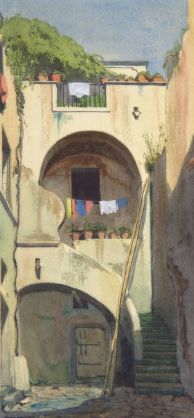 Clothesline Painting - A House At Sorrento by Thomas Cromek