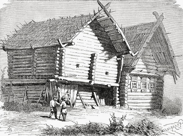 Log Drawing - A House In Northern Russia In The 19th by Vintage Design Pics
