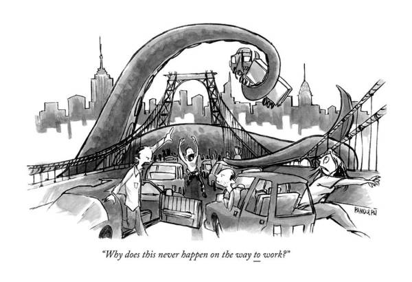 March 3rd Drawing - A Huge Octopus Tentacle Wraps Over A Brigde by Corey Pandolph