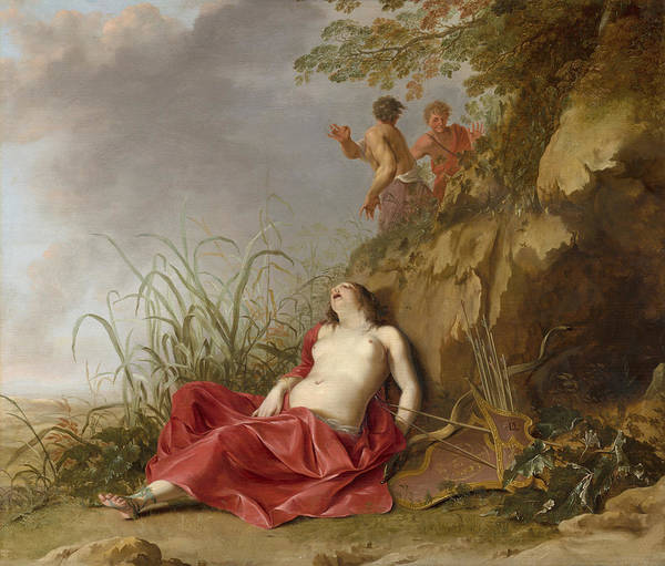 Asleep Painting - A Hunting Nymph, Asleep by Dirck van der Lisse