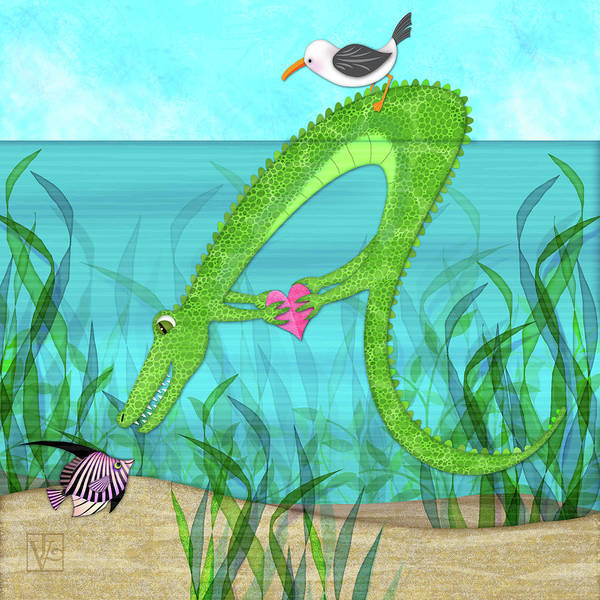 Digital Art - A Is For Alligator by Valerie Drake Lesiak
