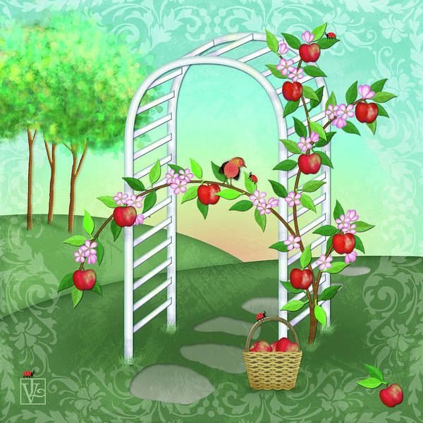 Digital Art - A Is For Arbor And Apples by Valerie Drake Lesiak