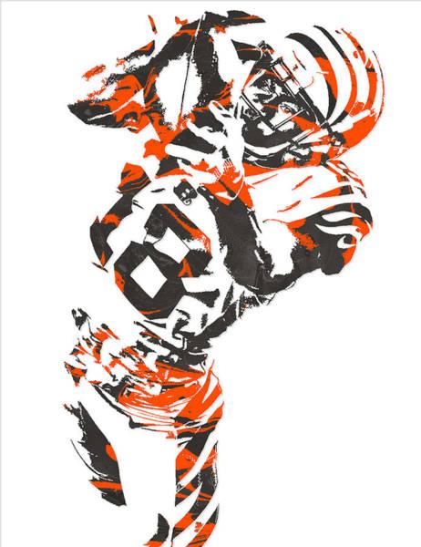 Wall Art - Mixed Media - A J Green Cincinnati Bengals Pixel Art 3 by Joe Hamilton