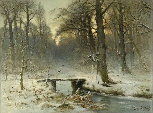 Painting - A January Evening In The Woods by Movie Poster Prints