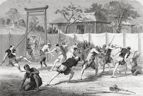 Feudal Japan Wall Art - Drawing - A Japanese Fencing School In The 19th by Vintage Design Pics