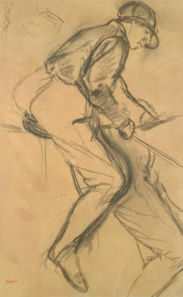 Crayon Drawing - A Jockey by Edgar Degas