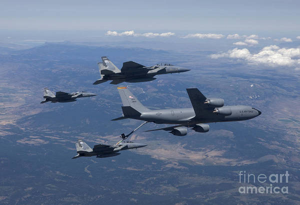 Jet Fighter Photograph - A Kc-135r Stratotanker Refuels Three by HIGH-G Productions