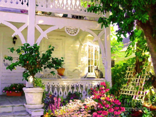 Porch Painting - A Key West Porch by David Van Hulst