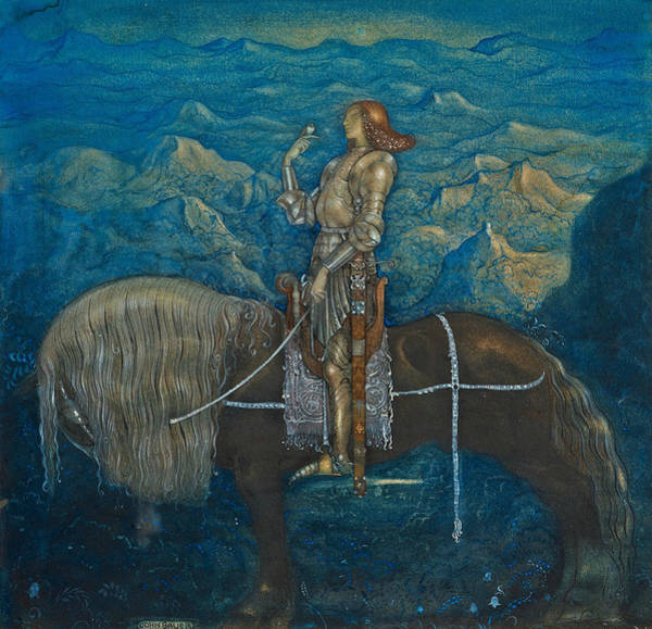 Swedish Painters Wall Art - Painting - A Knight Rode On by John Bauer