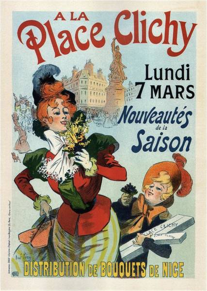 Statue Mixed Media - A La Place Clichy - Nouveaute's De La Saison - Vintage French Advertising Poster by Studio Grafiikka