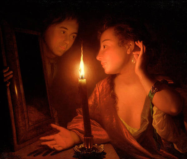 Illumination Painting - A Lady Admiring An Earring By Candlelight by Godfried Schalcken