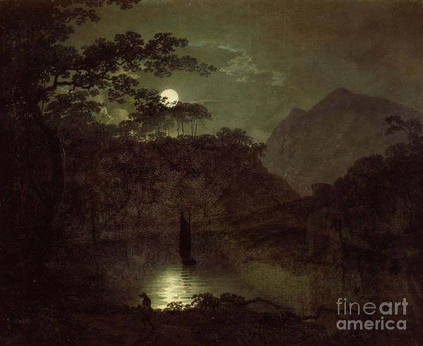 Mountain Lake Painting - A Lake By Moonlight by Joseph Wright of Derby