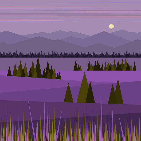 Purple Haze Digital Art - A Lake In The Mountains by Val Arie