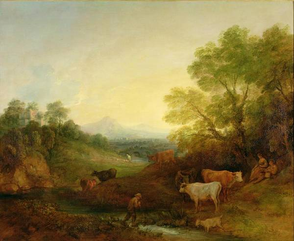 Thomas Gainsborough Wall Art - Painting - A Landscape With Cattle And Figures By A Stream And A Distant Bridge by Thomas Gainsborough