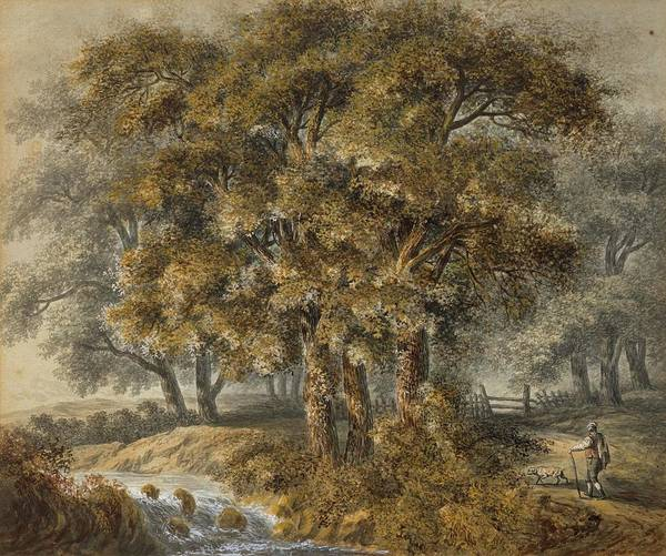 Meyer Painting - A Landscape With Traveler And Dog by Johann Heinrich Meyer