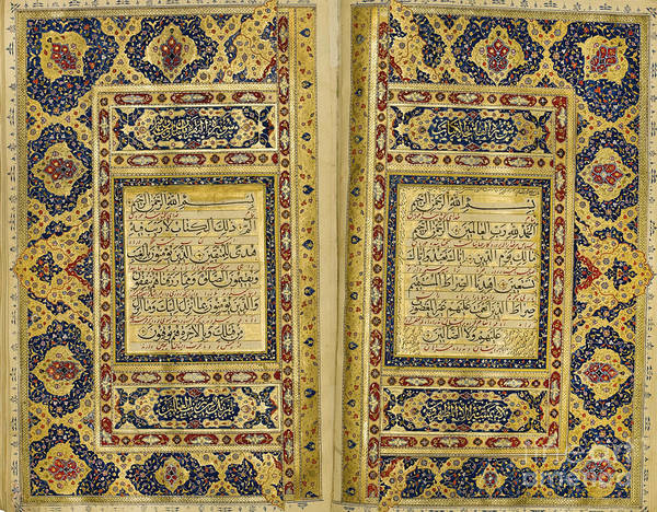 Painting - A Large Illuminated Qu'ran by Celestial Images