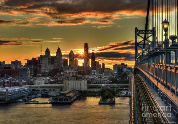 Franklin Park Photograph - A Late Summer Sunset Over Philadelphia - 2017 by Mark Ayzenberg