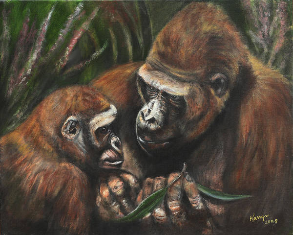 Baby Gorilla Painting - A Lesson In Leaves by Karryn Arthur