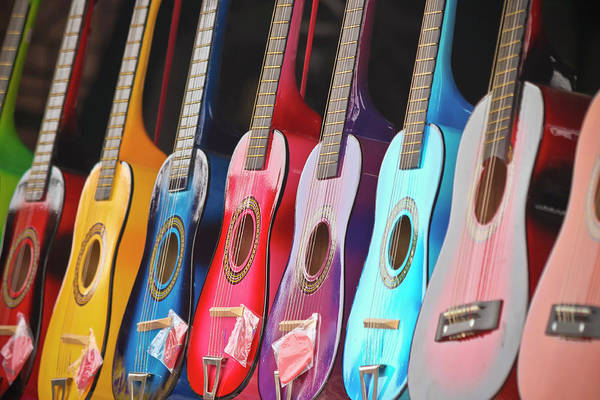 Fret Board Photograph - A Line Of Shiny, Colorful, Miniature Guitars by Derrick Neill