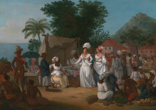 Italian Painters Wall Art - Painting - A Linen Market With A Linen-stall And Vegetable Seller In The West Indies by Agostino Brunias