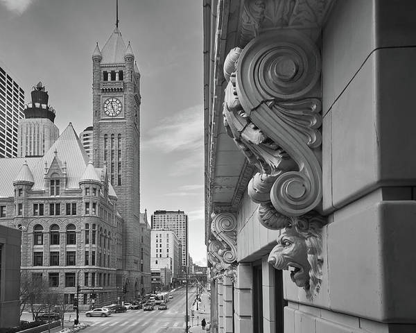 Minneapolis Photograph - A Lion Guards  Minneapolis City Hall by Jim Hughes