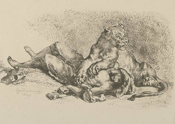 Relief - A Lioness Mauling The Chest Of An Arab by Eugene Delacroix