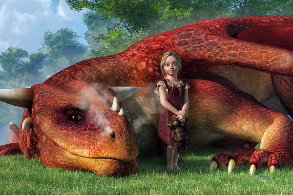 Digital Art - A Little Girl And Her Dragon by Daniel Eskridge