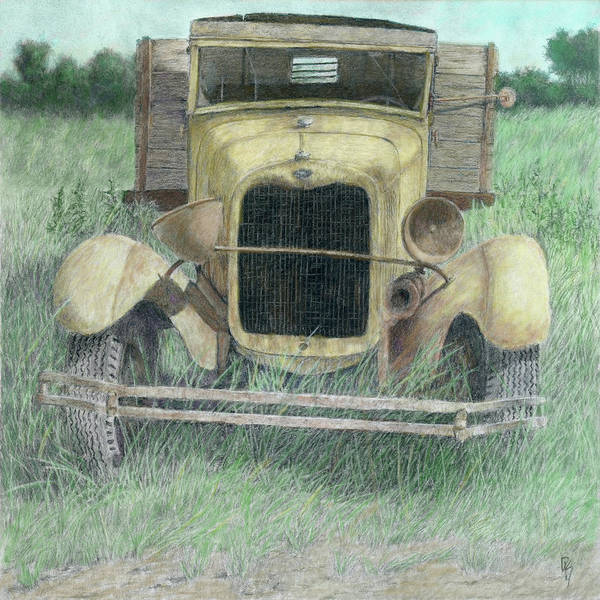 Old Truck Digital Art - A Little Loopy Colorized by David King