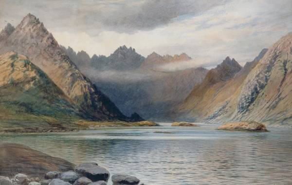 Wall Paper Painting - A Loch North Of Hadrian's Wall by Walter Severn