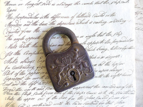 Cursive Photograph - A Lock On Cursive by Colleen VT