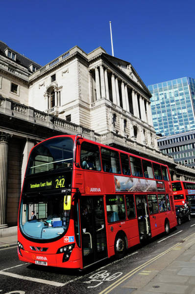 Wall Art - Photograph - A London  Bus Outside The Bank Of England by Liz Pinchen