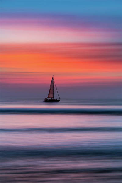 Photograph - A Lone Yacht At Sunset, Widemouth Bay, Bude, Cornwall. by Maggie McCall