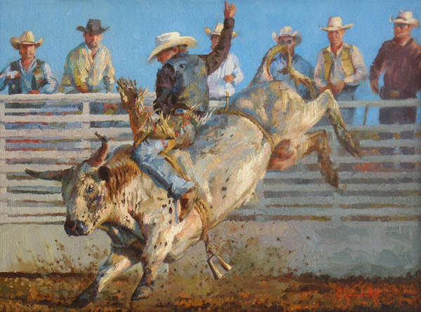 Riding Painting - A Long 8 Seconds by Jim Clements