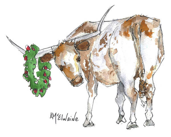 Longhorn Painting - A Longhorn Christmas Leader, Come On In by Kathleen McElwaine