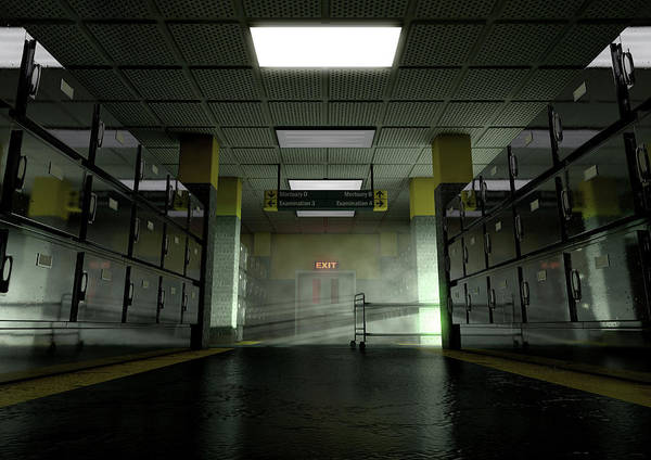 Wall Art - Digital Art - A Look Down The Aisle Of Fridges Of A Dimly Lit Ward In A Mortuary With An Empty Gerney In The Dista by Allan Swart