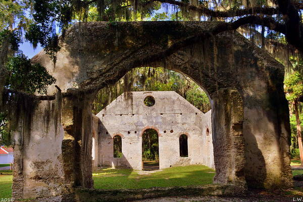 Photograph - A Look Into The Chapel Of Ease St. Helena Island Beaufort Sc by Lisa Wooten