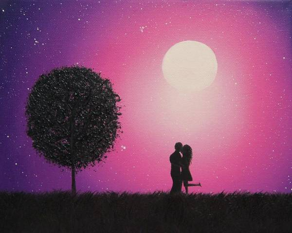 Full Moon Painting - A Love To Know by Rachel Bingaman