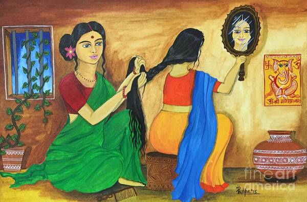 Wall Art - Painting - A Loving Moment  by Pushpa Sharma